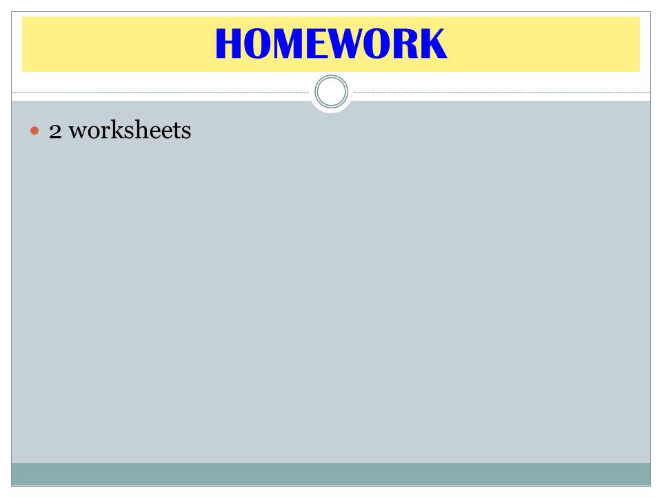 HOMEWORK 2 worksheets