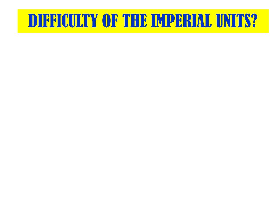 Difficulty Of The Imperial Units Ppt Video Online Download