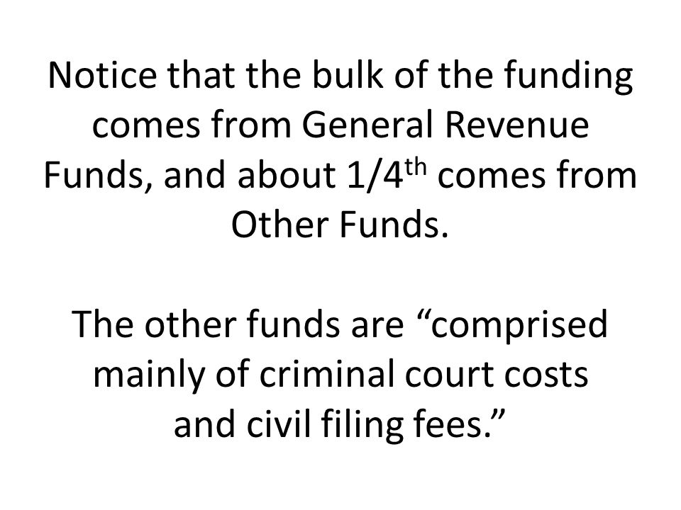 Notice that the bulk of the funding comes from General Revenue Funds, and about 1/4th comes from Other Funds.