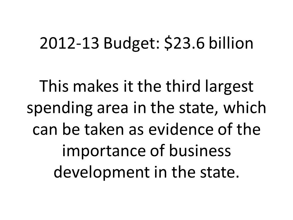 2012-13 Budget: $23.6 billion This makes it the third largest spending area in the state, which can be taken as evidence of the importance of business development in the state.