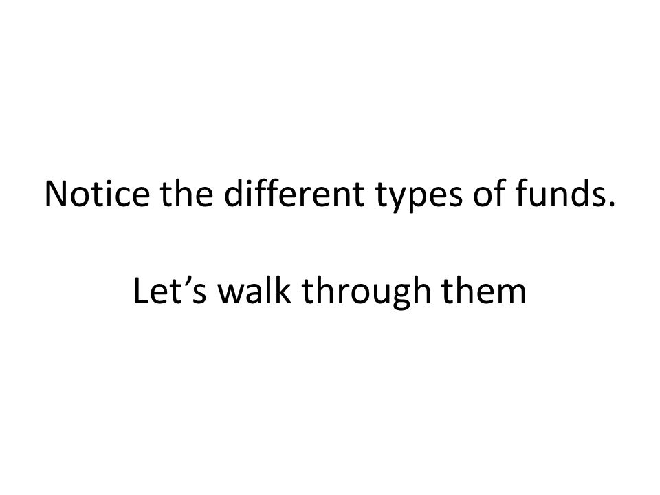 Notice the different types of funds. Let's walk through them