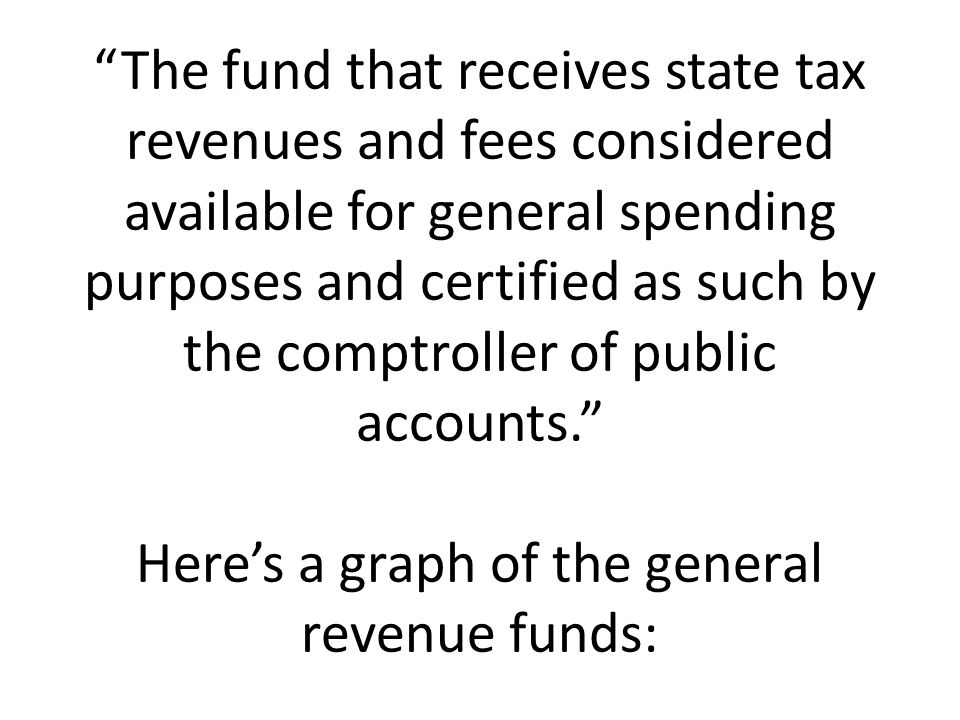 The fund that receives state tax revenues and fees considered available for general spending purposes and certified as such by the comptroller of public accounts. Here's a graph of the general revenue funds: