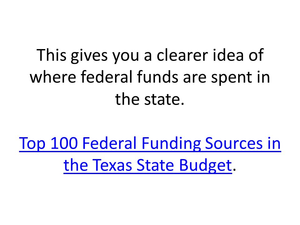 This gives you a clearer idea of where federal funds are spent in the state.