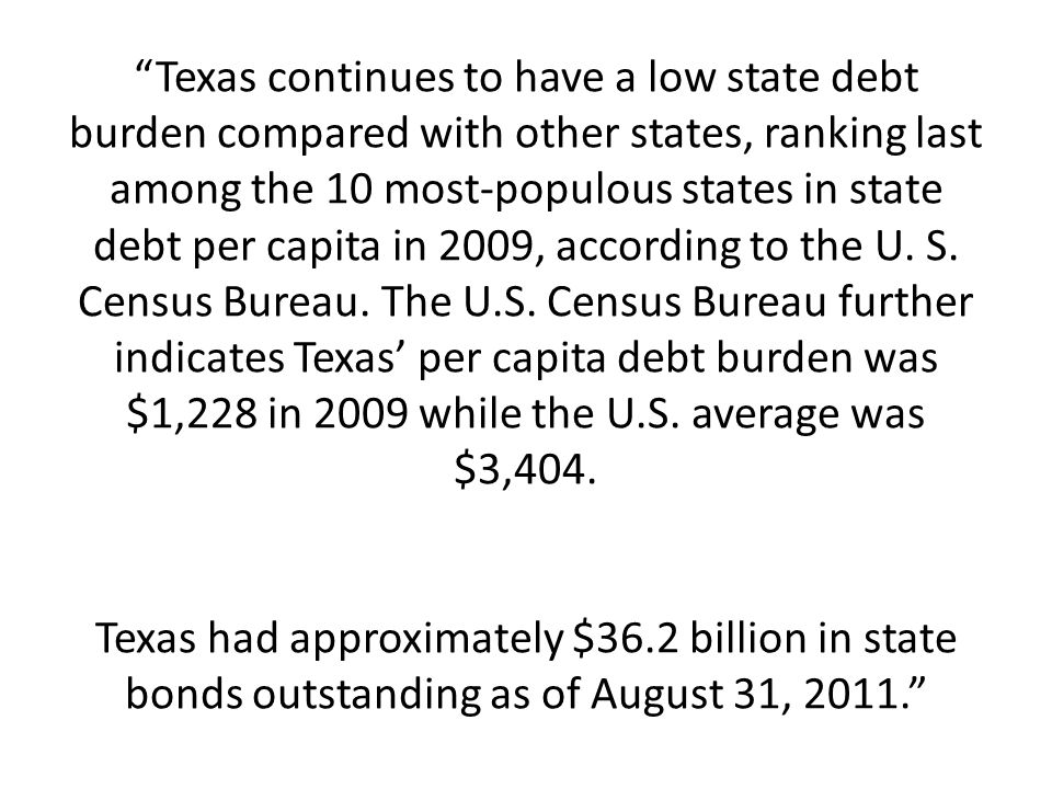 Texas continues to have a low state debt burden compared with other states, ranking last among the 10 most-populous states in state debt per capita in 2009, according to the U.