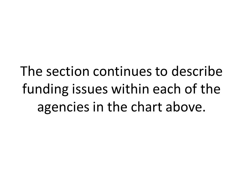 The section continues to describe funding issues within each of the agencies in the chart above.