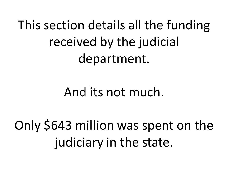 This section details all the funding received by the judicial department.