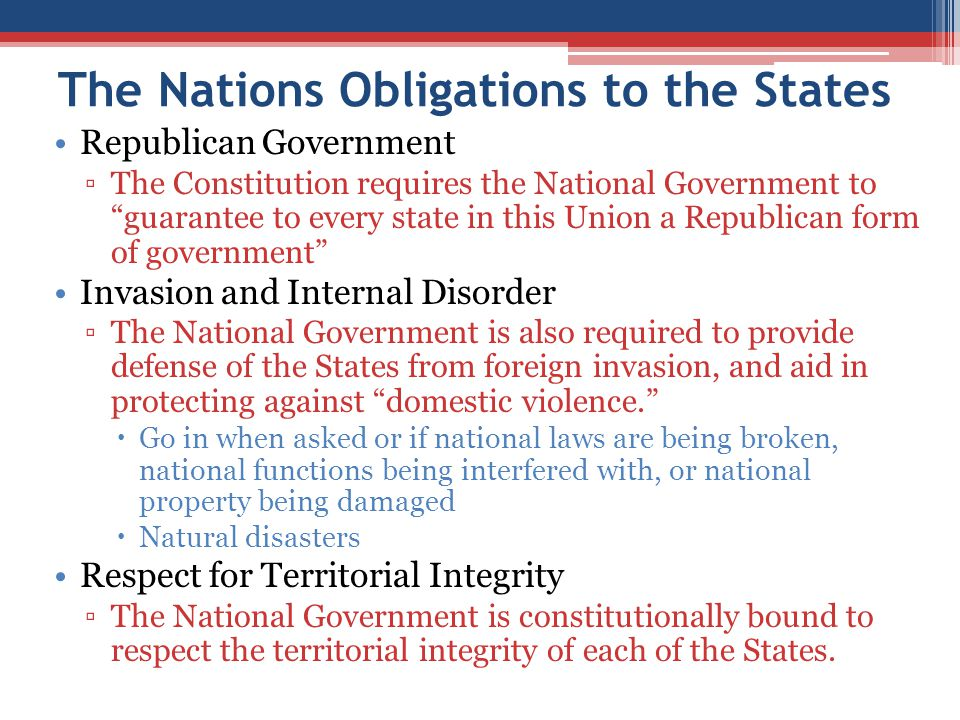 The Nations Obligations to the States