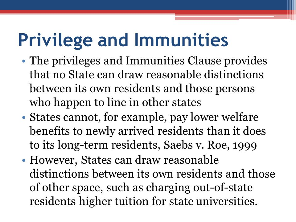 Privilege and Immunities
