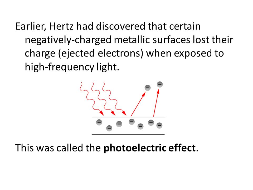 Earlier, Hertz had discovered that certain negatively-charged metallic surfaces lost their charge (ejected electrons) when exposed to high-frequency light.