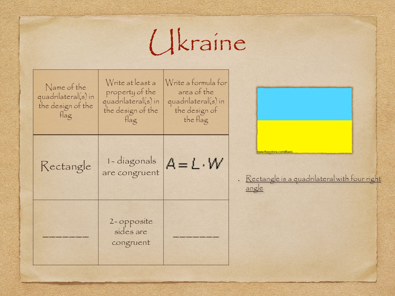 Ukraine Rectangle _______ 1- diagonals are congruent