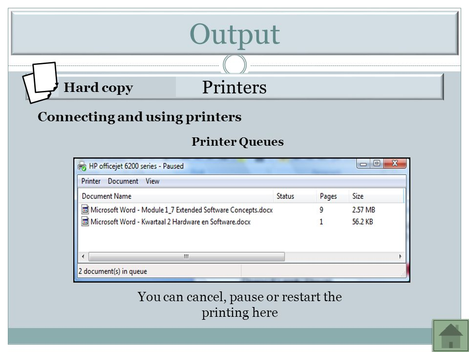 You can cancel, pause or restart the printing here