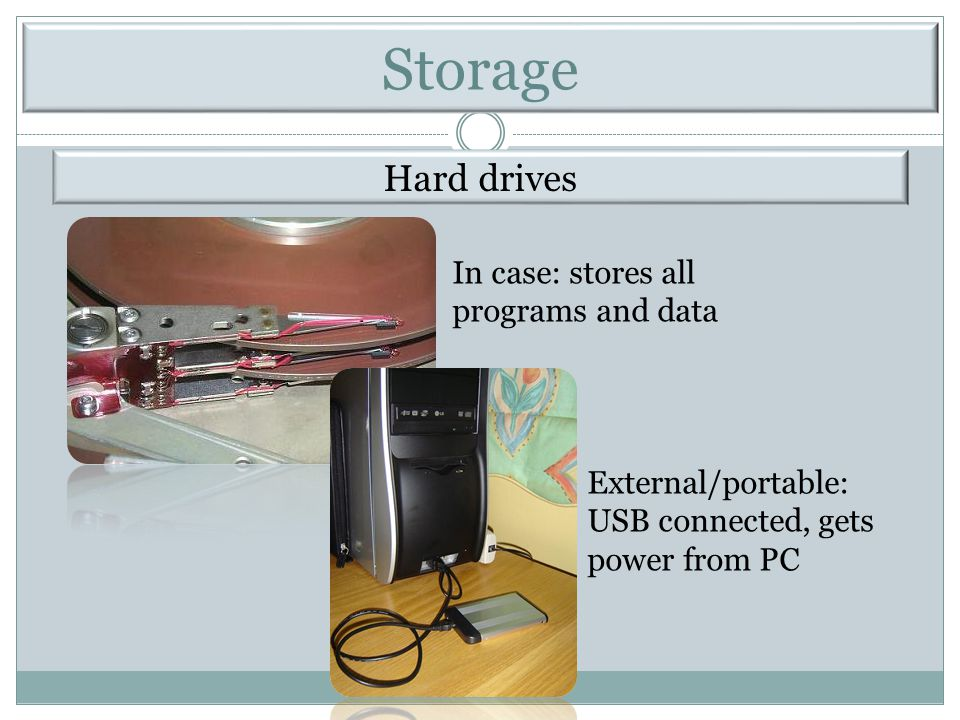 Storage Hard drives In case: stores all programs and data