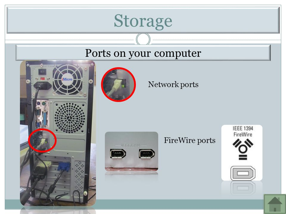 Storage Ports on your computer Network ports FireWire ports
