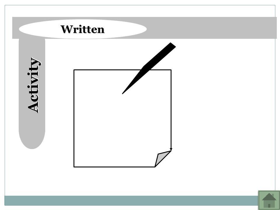 Activity Activity Written Written Purpose of this exercise: