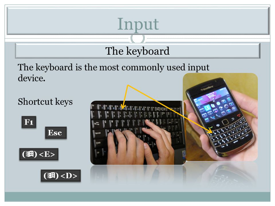 Input The keyboard. The keyboard is the most commonly used input device. Shortcut keys. F1. Esc.