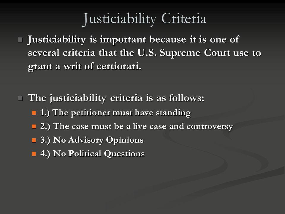 Justiciability Criteria