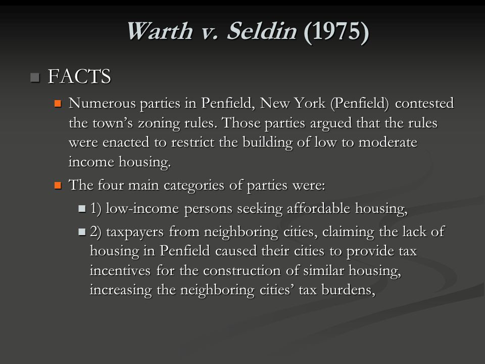 Warth v. Seldin (1975) FACTS.