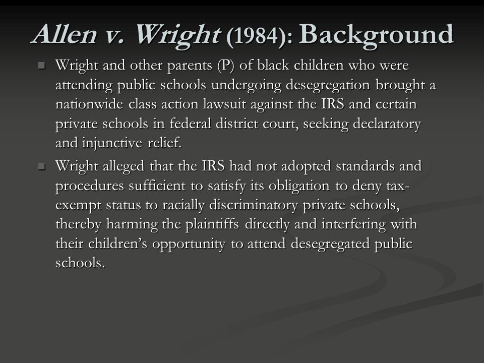 Allen v. Wright (1984): Background