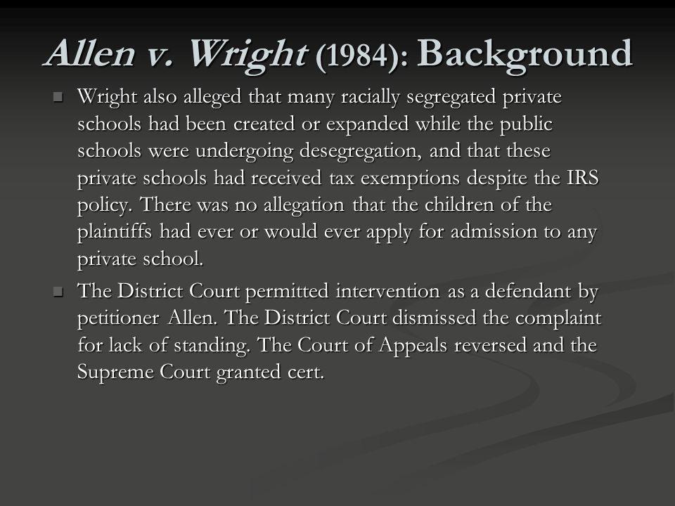 Allen v. Wright (1984): Background