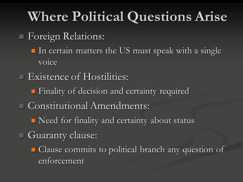 Where Political Questions Arise