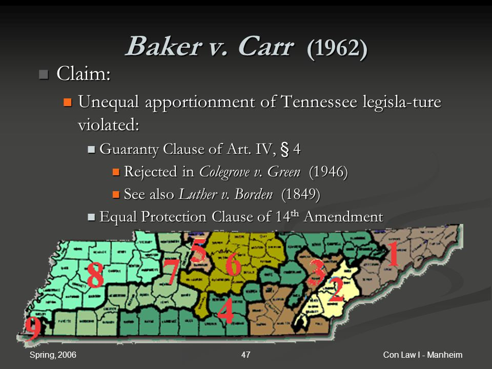 Baker v. Carr (1962) Claim: Unequal apportionment of Tennessee legisla-ture violated: Guaranty Clause of Art. IV, § 4.