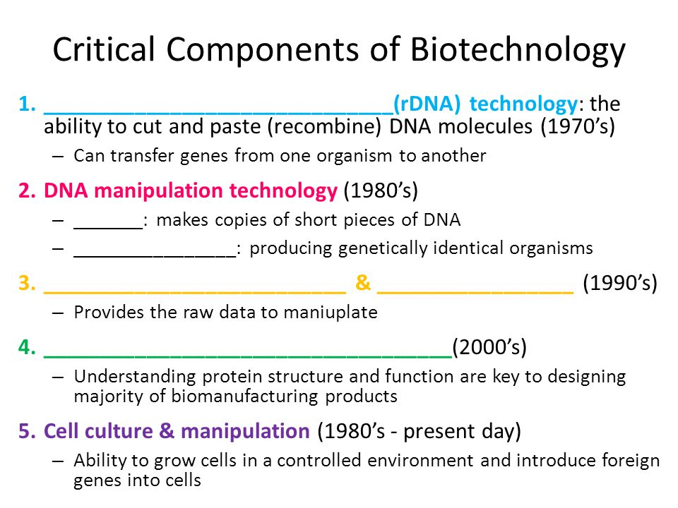 Critical Components of Biotechnology