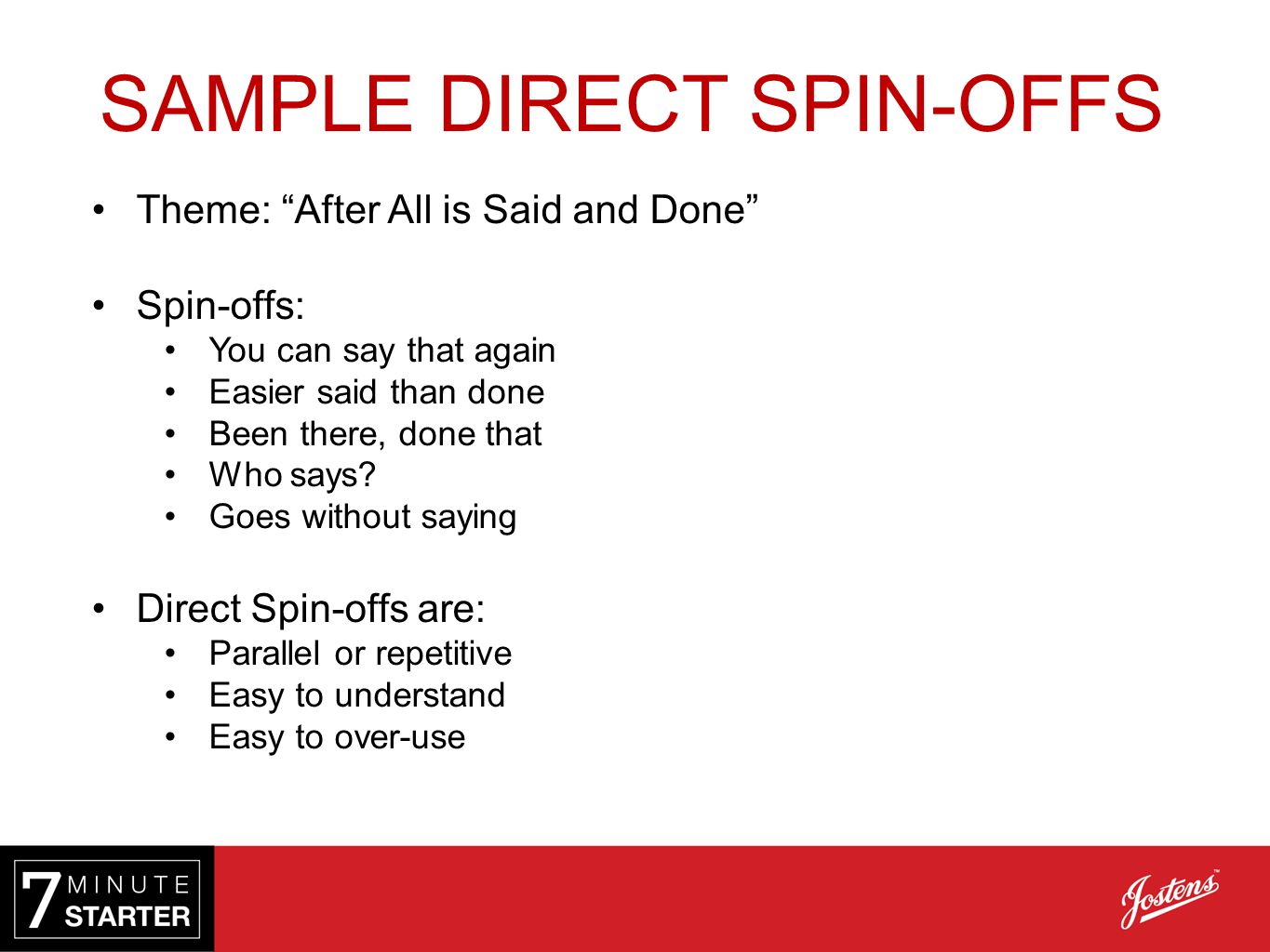 SAMPLE DIRECT SPIN-OFFS