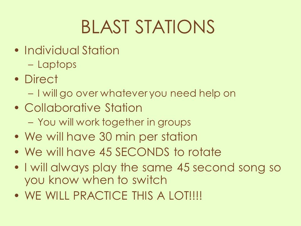 BLAST STATIONS Individual Station Direct Collaborative Station