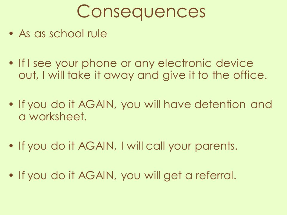 Consequences As as school rule