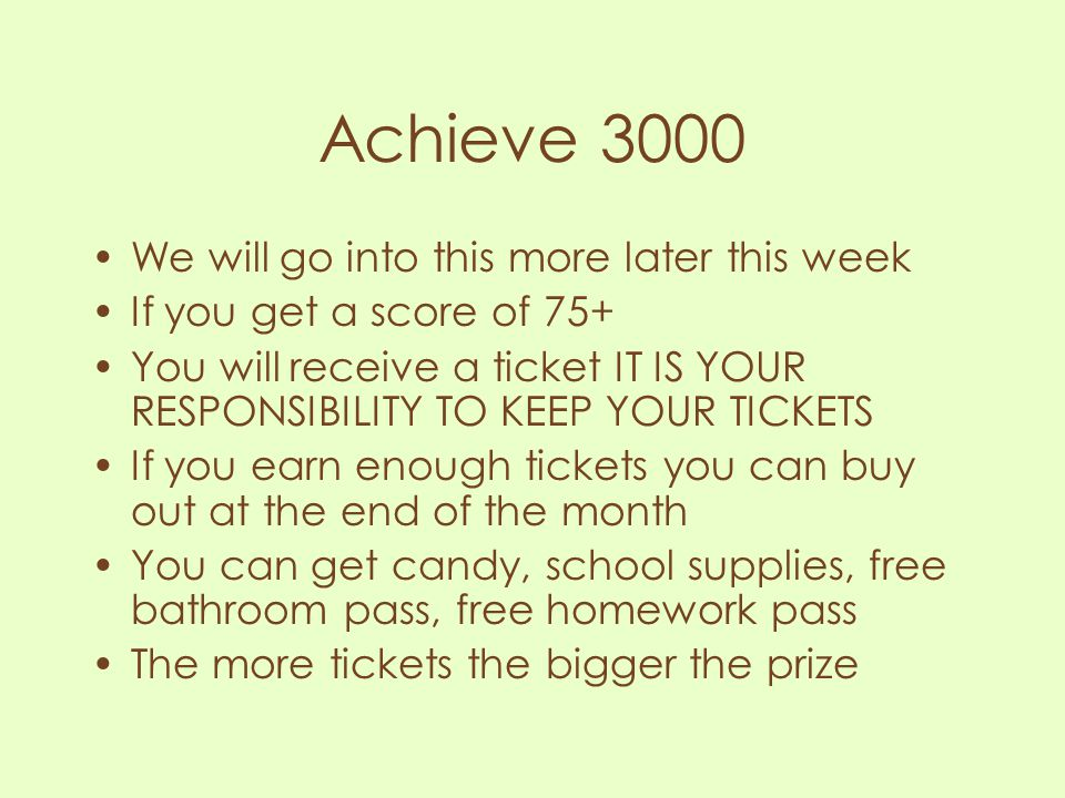 Achieve 3000 We will go into this more later this week