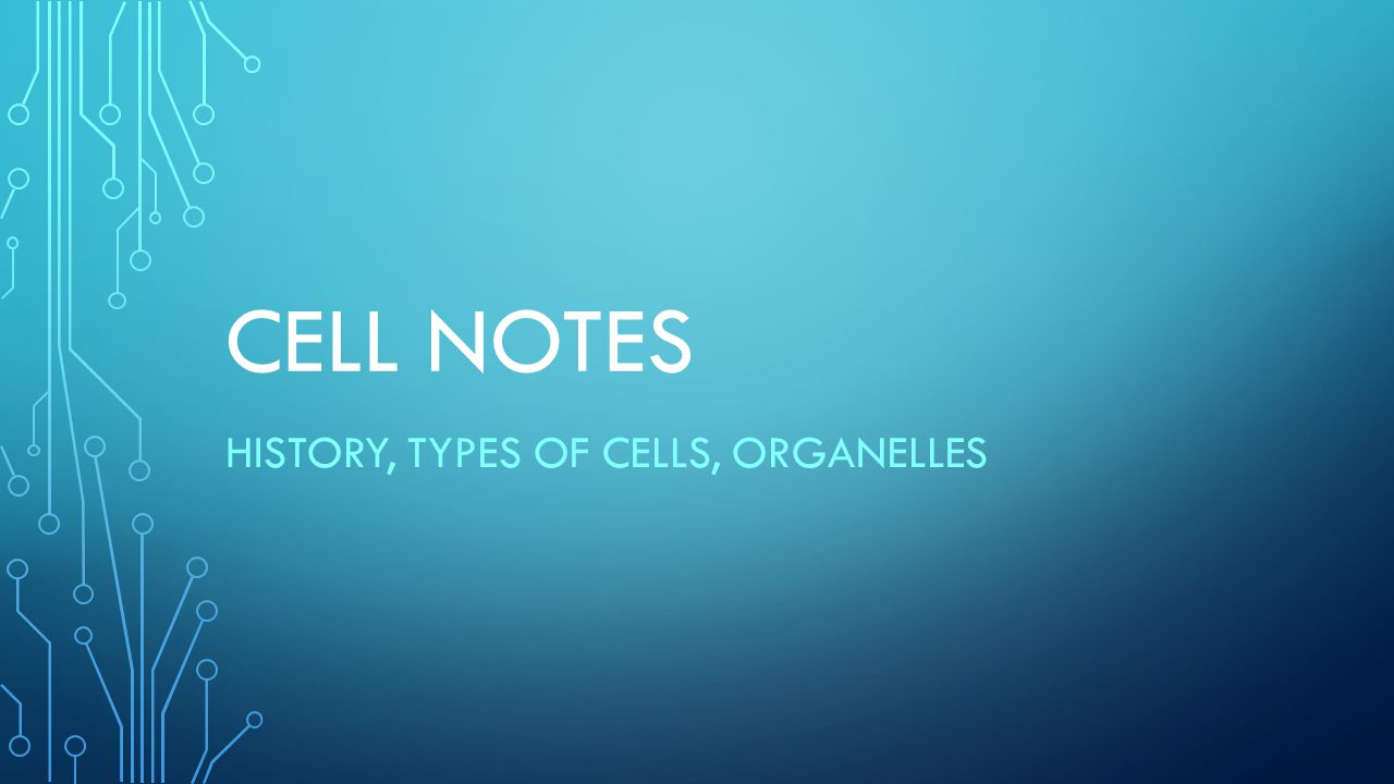 History, Types of Cells, Organelles
