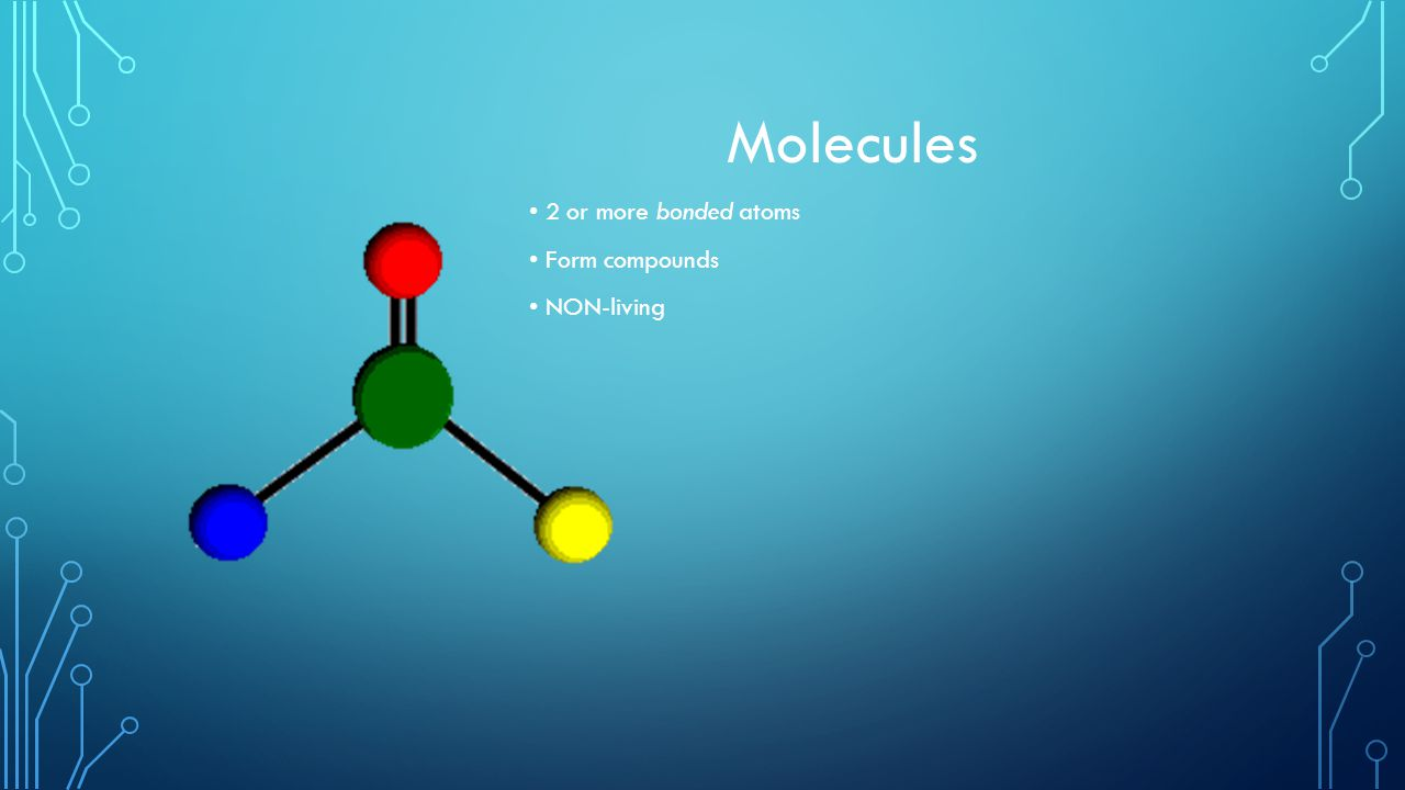 Molecules 2 or more bonded atoms Form compounds NON-living