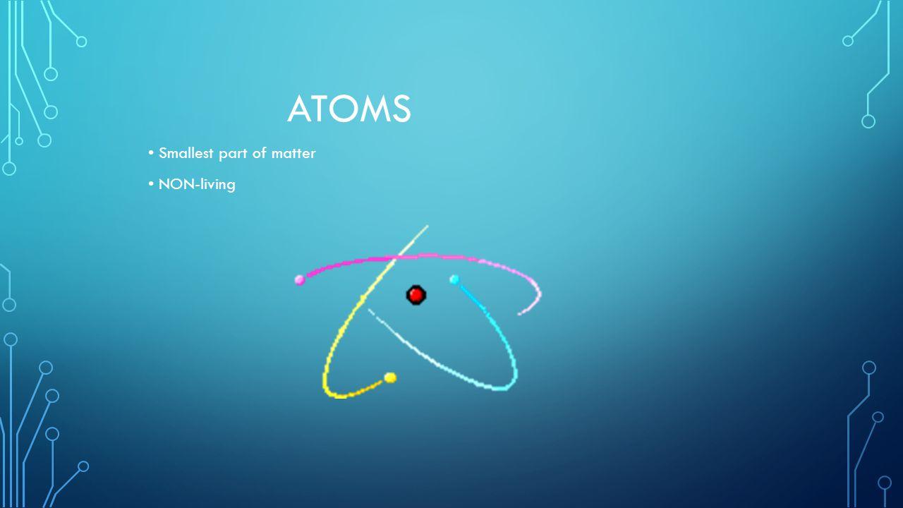 ATOMS Smallest part of matter NON-living