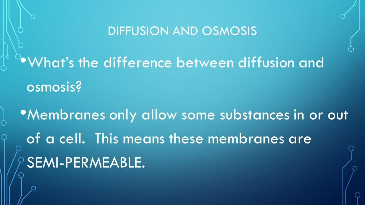 What's the difference between diffusion and osmosis