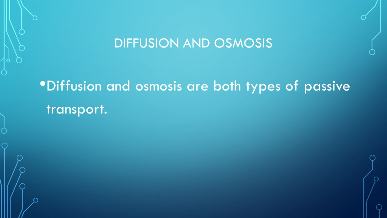 Diffusion and osmosis are both types of passive transport.