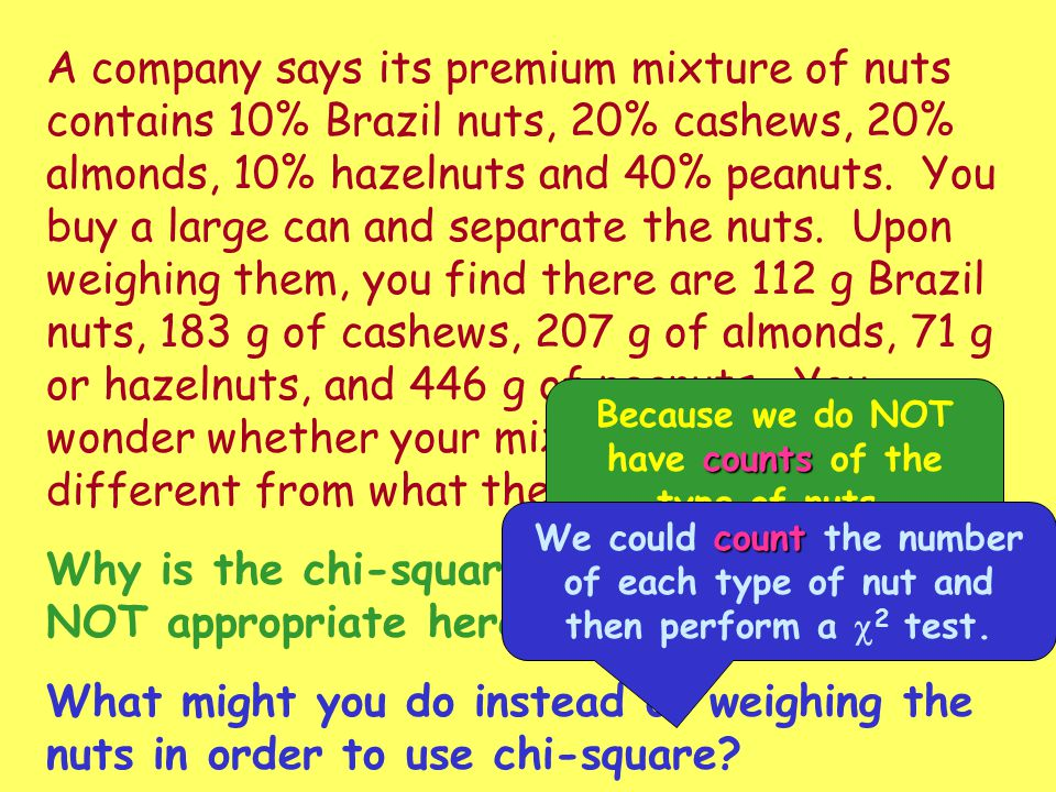 Because we do NOT have counts of the type of nuts.