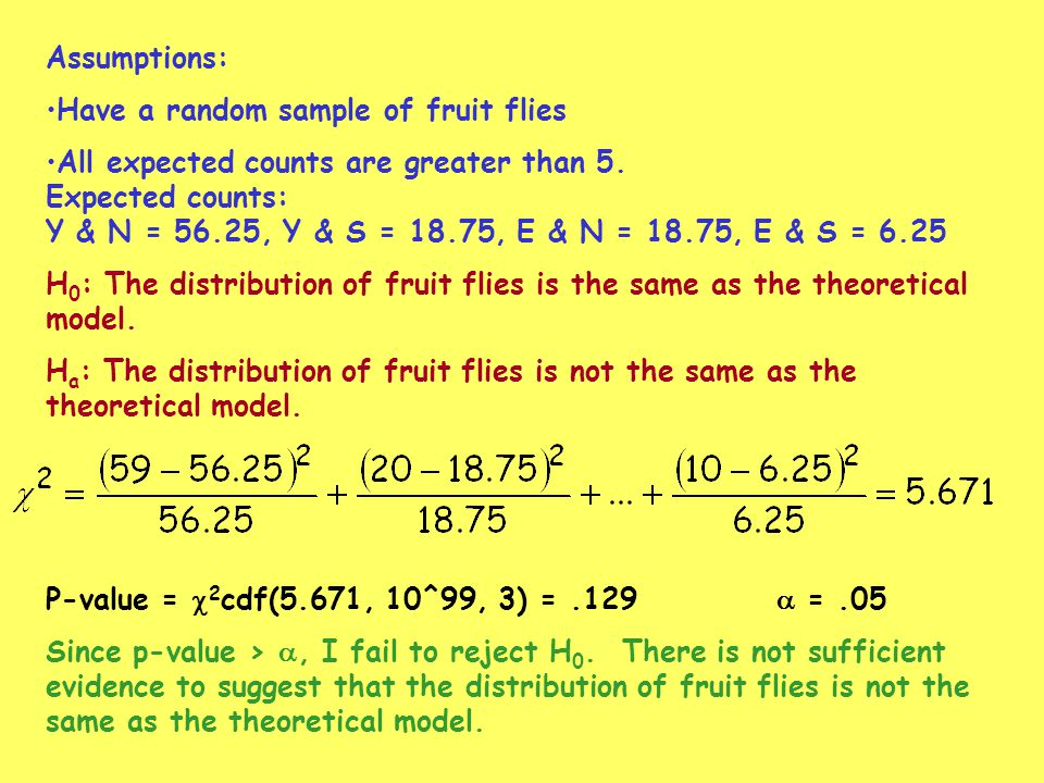 Assumptions: Have a random sample of fruit flies. All expected counts are greater than 5. Expected counts: