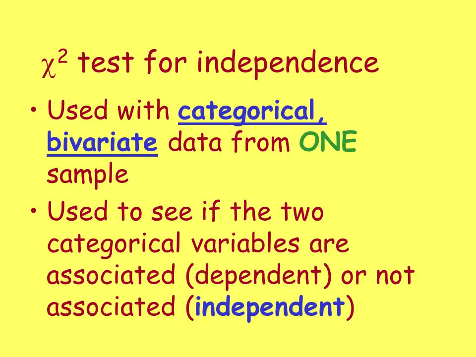 c2 test for independence