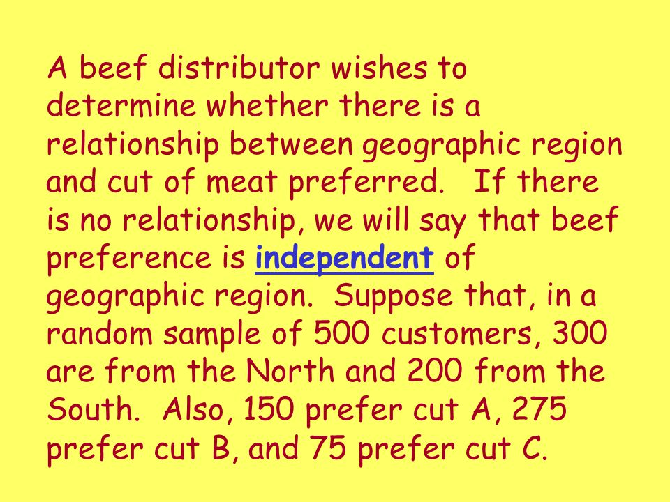 A beef distributor wishes to determine whether there is a relationship between geographic region and cut of meat preferred.
