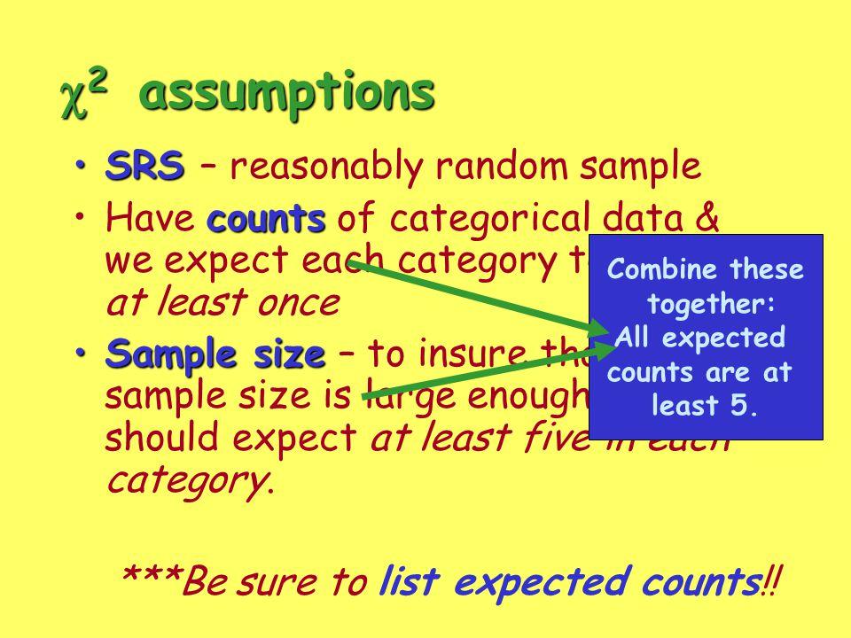 c2 assumptions SRS – reasonably random sample