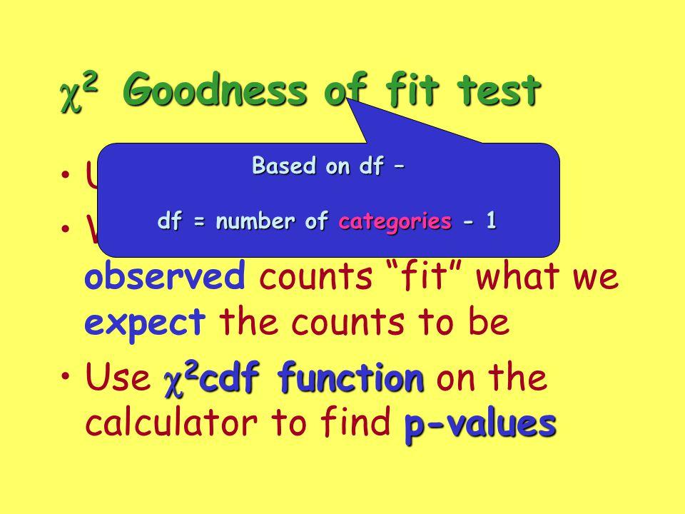 df = number of categories - 1