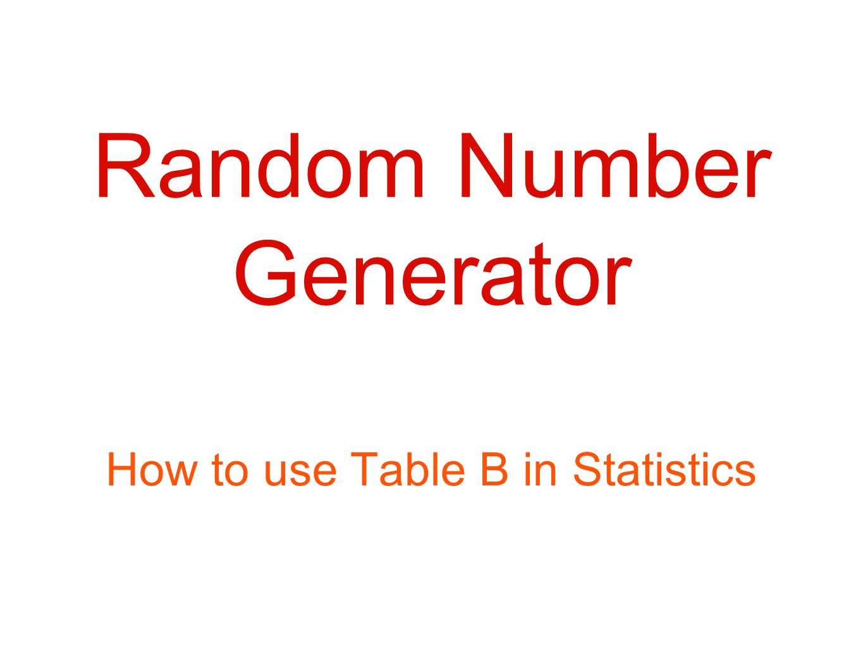 Random number generator ppt download for Random number table 1 99