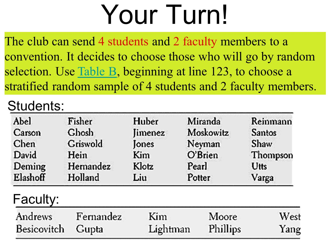 Your Turn! Students: Faculty: