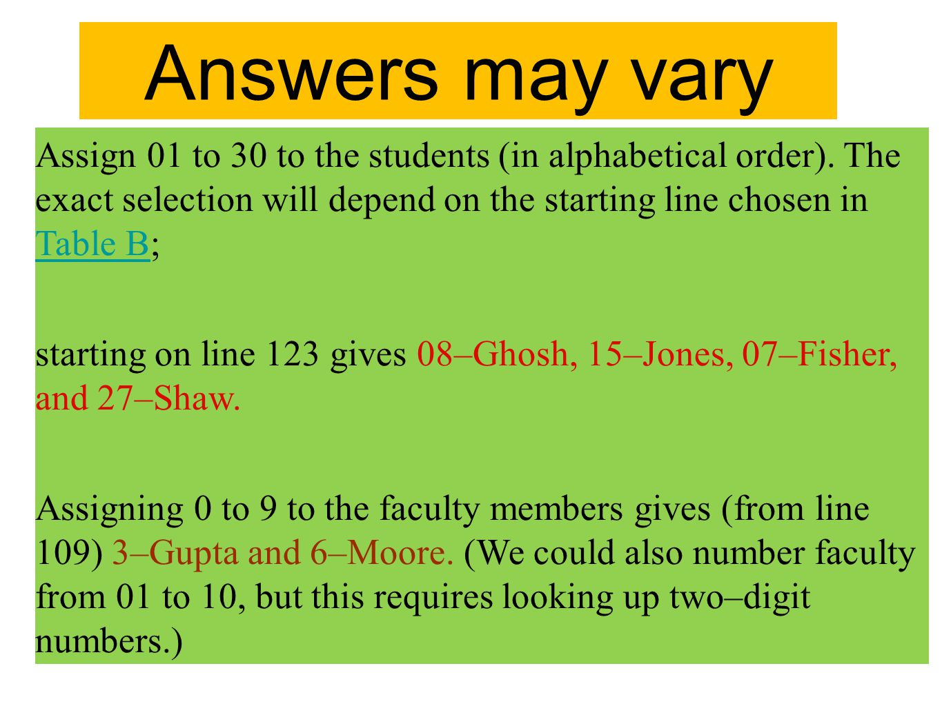 Answers may vary Assign 01 to 30 to the students (in alphabetical order). The exact selection will depend on the starting line chosen in Table B;
