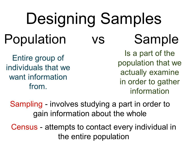 Designing Samples Population vs Sample