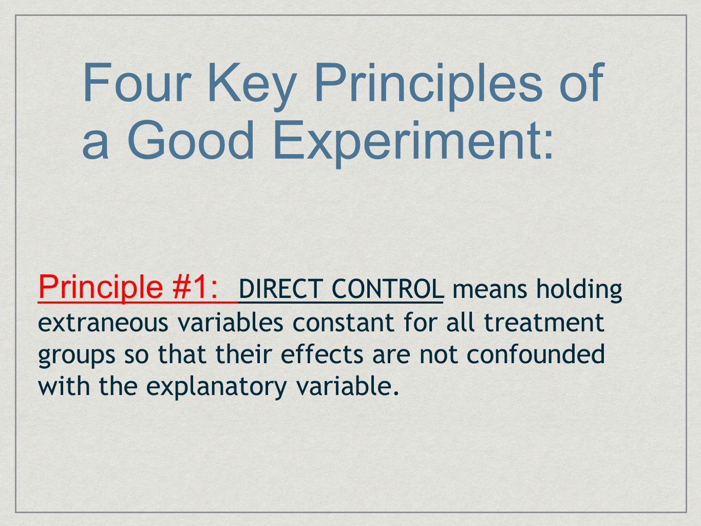Four Key Principles of a Good Experiment: