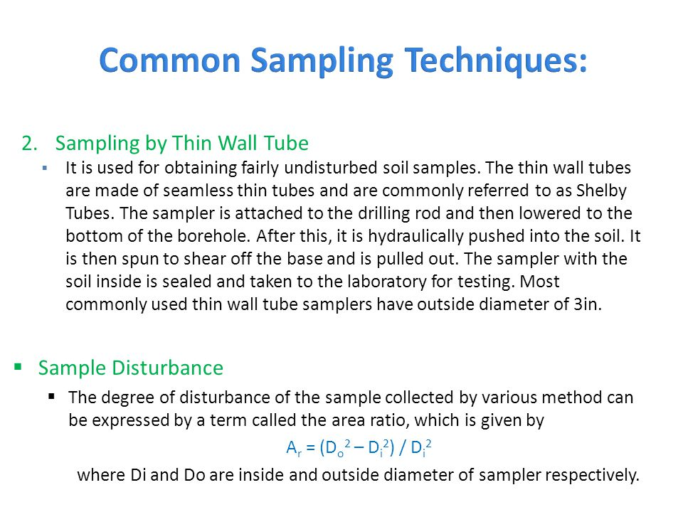 Common Sampling Techniques: