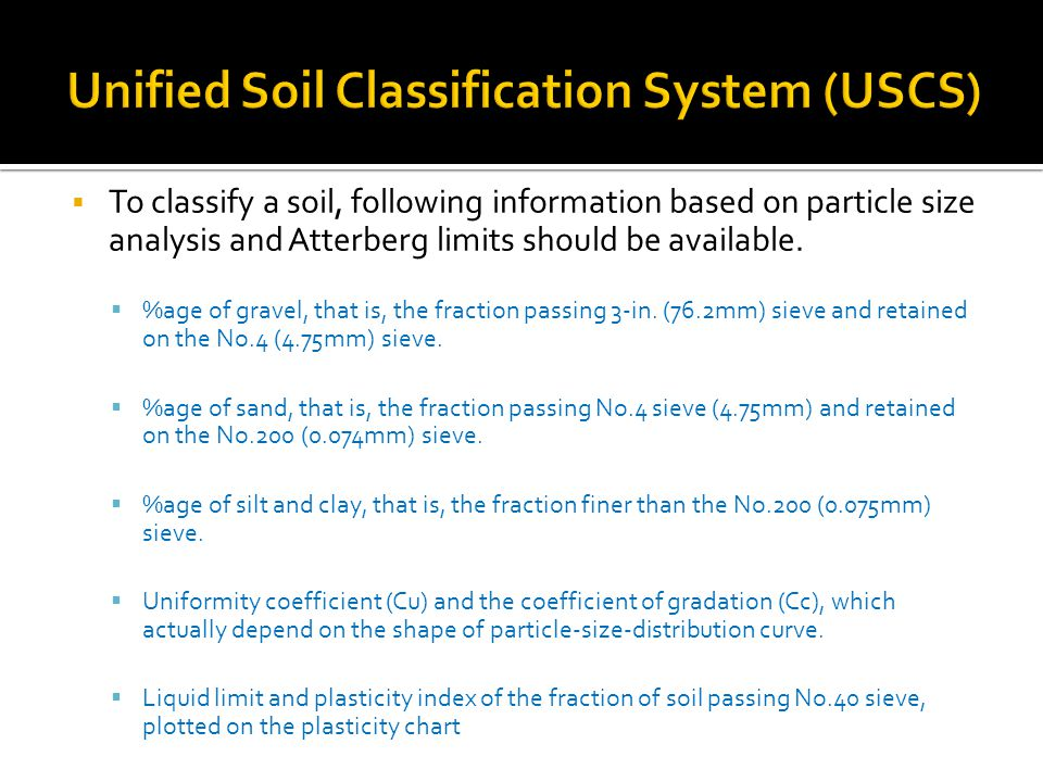 Unified Soil Classification System (USCS)