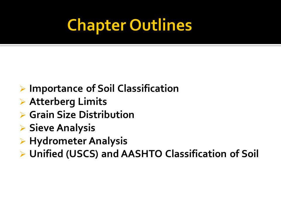 Chapter Outlines Importance of Soil Classification Atterberg Limits