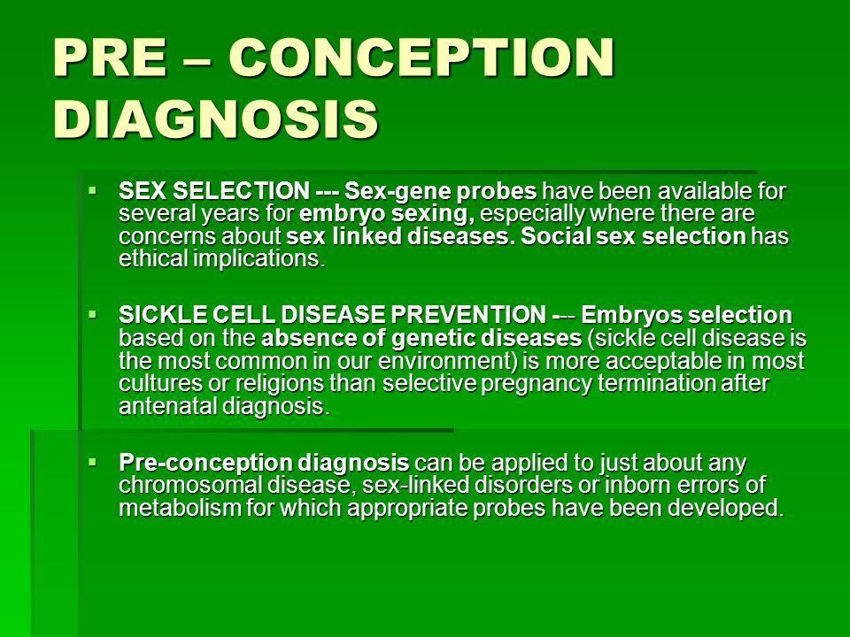 PRE – CONCEPTION DIAGNOSIS